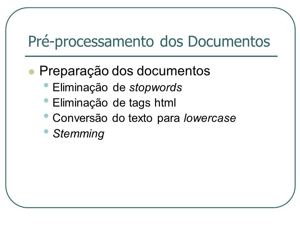 Pré-processamento dos Documentos Preparação dos documentos Eliminação de stopwords Eliminação de tags html Conversão do texto para lowercase Stemming