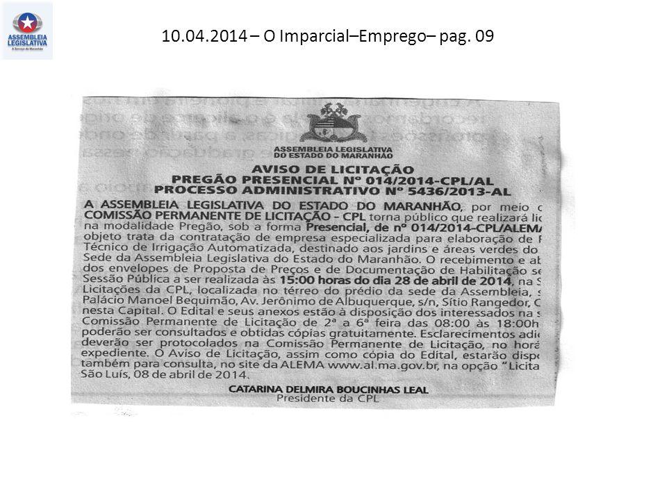 10.04.2014 – O Imparcial–Emprego– pag. 09