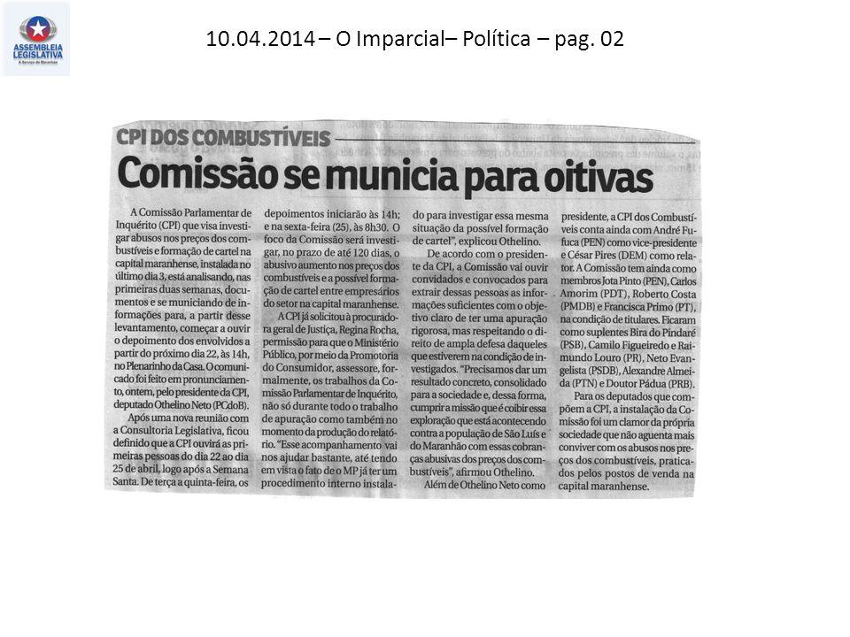 10.04.2014 – O Imparcial– Giro – pag. 10