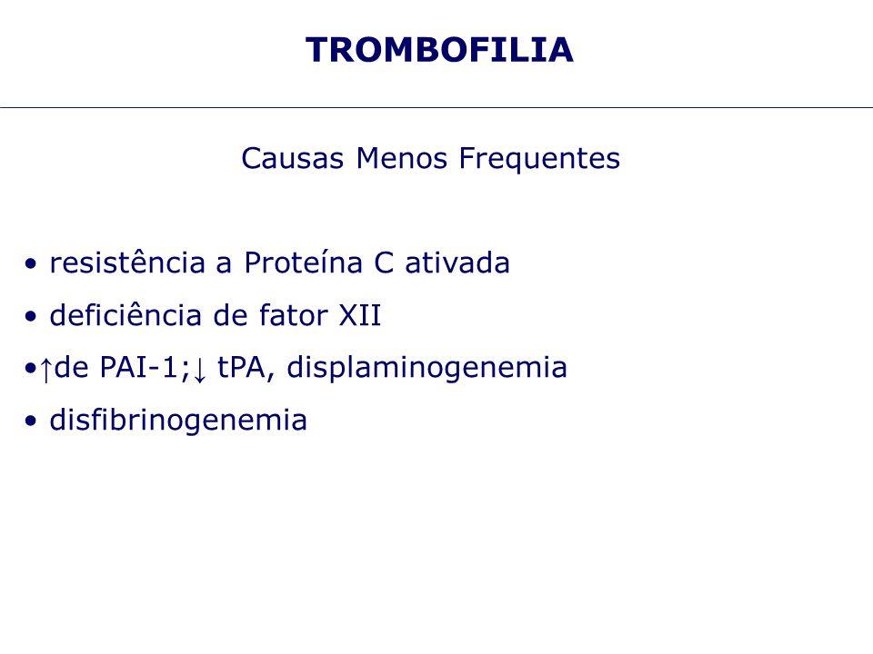 TROMBOFILIA Causas Menos Frequentes resistência a Proteína C ativada deficiência de fator XII de PAI-1; tPA, displaminogenemia disfibrinogenemia