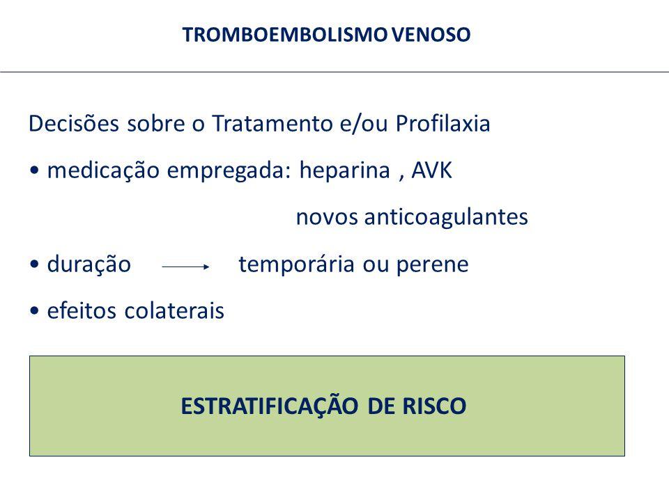TROMBOEMBOLISMO VENOSO Decisões sobre o Tratamento e/ou Profilaxia medicação empregada: heparina, AVK novos anticoagulantes duração temporária ou pere