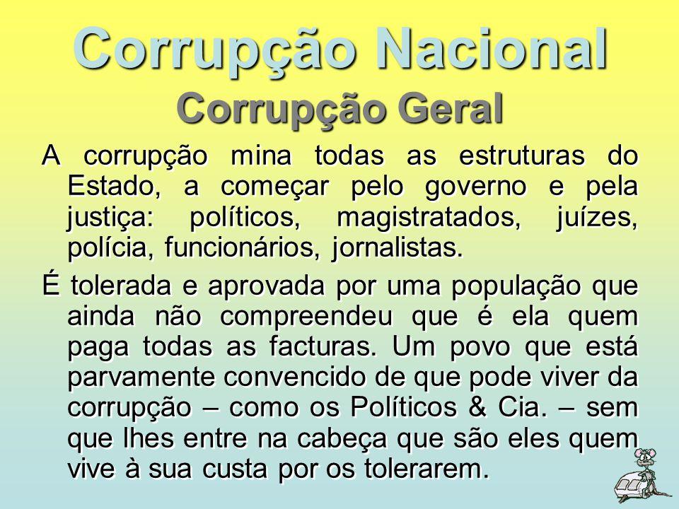 Corrupção Nacional A corrupção mina todas as estruturas do Estado, a começar pelo governo e pela justiça: políticos, magistratados, juízes, polícia, f