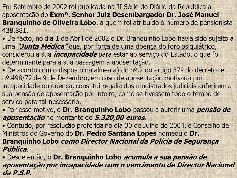 Em Setembro de 2002 foi publicada na II Série do Diário da República a aposentação do Exmº. Senhor Juiz Desembargador Dr. José Manuel Branquinho de Ol