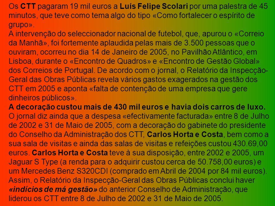 Os CTT pagaram 19 mil euros a Luís Felipe Scolari por uma palestra de 45 minutos, que teve como tema algo do tipo «Como fortalecer o espírito de grupo