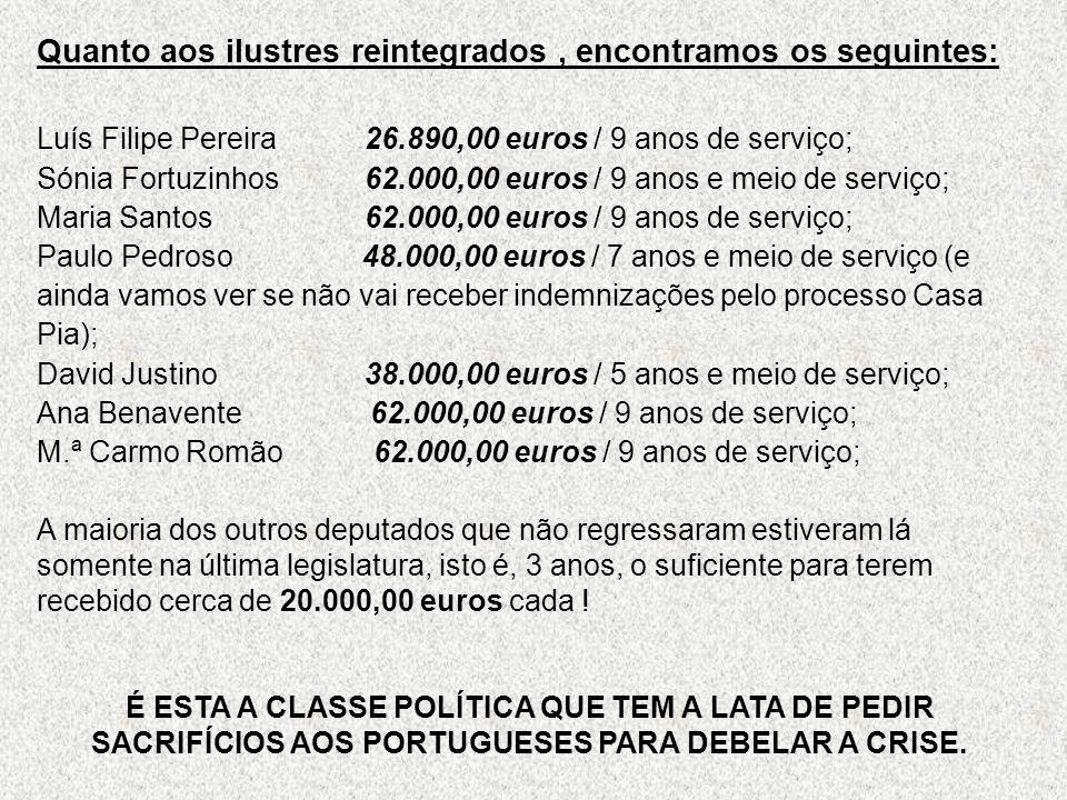 Quanto aos ilustres reintegrados, encontramos os seguintes: Luís Filipe Pereira 26.890,00 euros / 9 anos de serviço; Sónia Fortuzinhos 62.000,00 euros