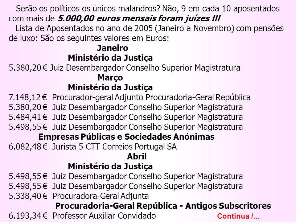 Serão os políticos os únicos malandros? Não, 9 em cada 10 aposentados com mais de 5.000,00 euros mensais foram juízes !!! Lista de Aposentados no ano