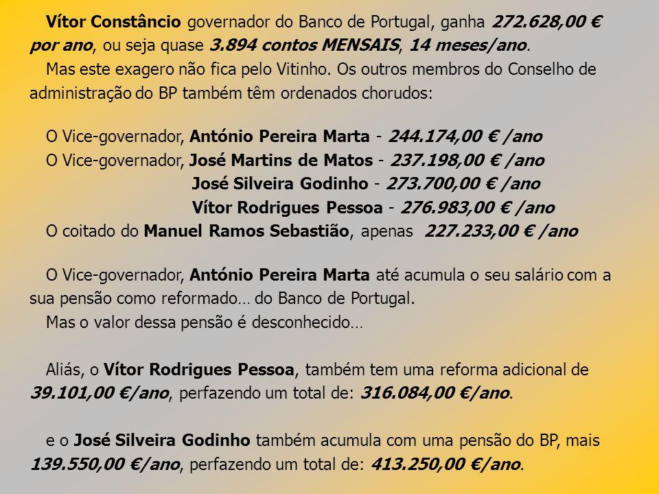 Vítor Constâncio governador do Banco de Portugal, ganha 272.628,00 por ano, ou seja quase 3.894 contos MENSAIS, 14 meses/ano. Mas este exagero não fic