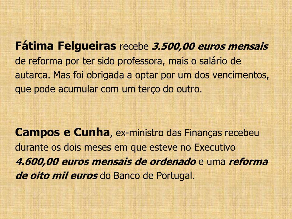 Fátima Felgueiras recebe 3.500,00 euros mensais de reforma por ter sido professora, mais o salário de autarca. Mas foi obrigada a optar por um dos ven