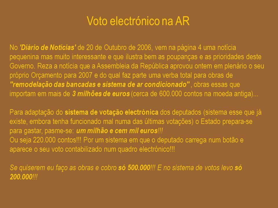 Voto electrónico na AR No 'Diário de Notícias' de 20 de Outubro de 2006, vem na página 4 uma notícia pequenina mas muito interessante e que ilustra be