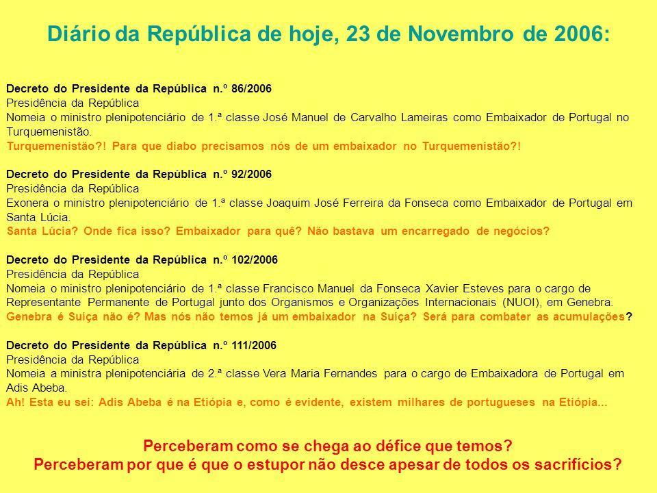 Diário da República de hoje, 23 de Novembro de 2006: Decreto do Presidente da República n.º 86/2006 Presidência da República Nomeia o ministro plenipo