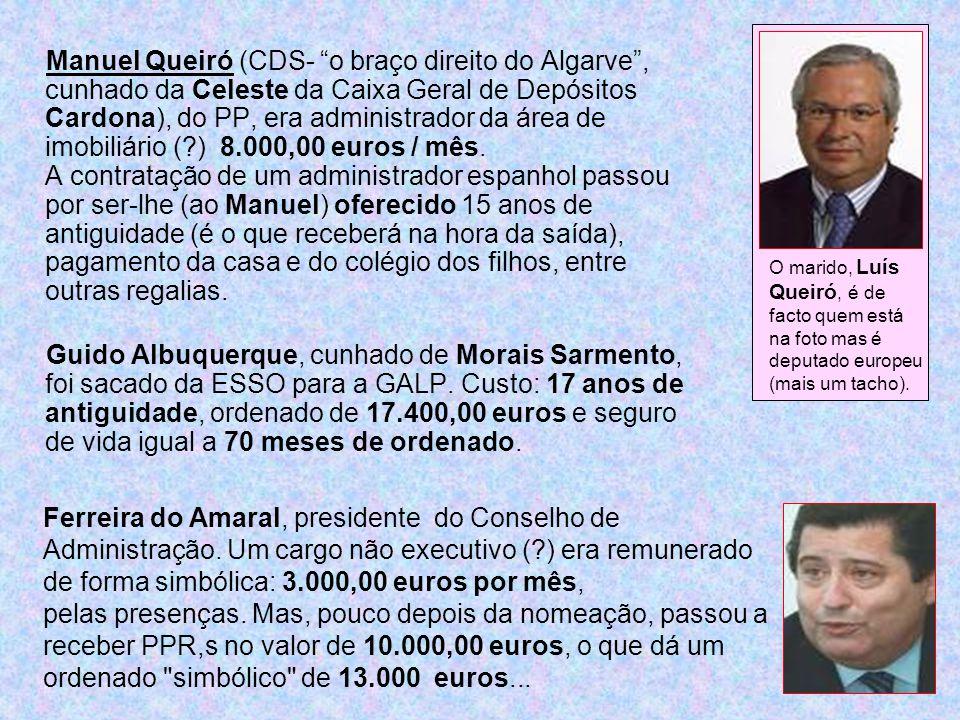 Manuel Queiró (CDS- o braço direito do Algarve, cunhado da Celeste da Caixa Geral de Depósitos Cardona), do PP, era administrador da área de imobiliár