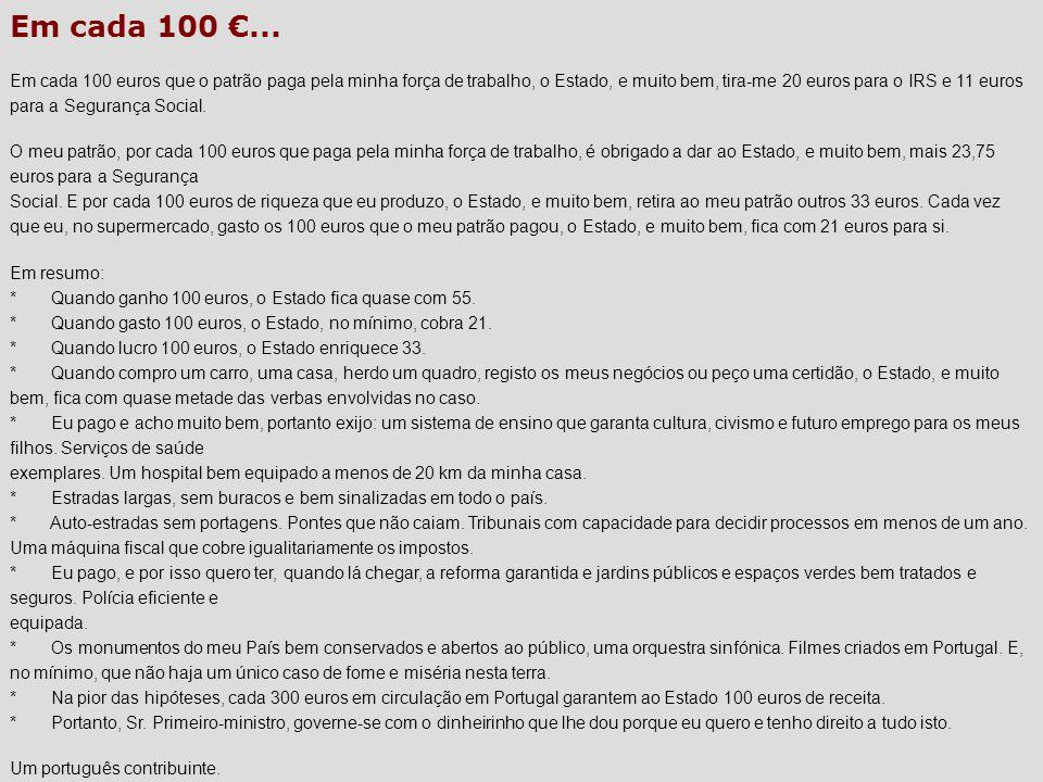 Em cada 100... Em cada 100 euros que o patrão paga pela minha força de trabalho, o Estado, e muito bem, tira-me 20 euros para o IRS e 11 euros para a