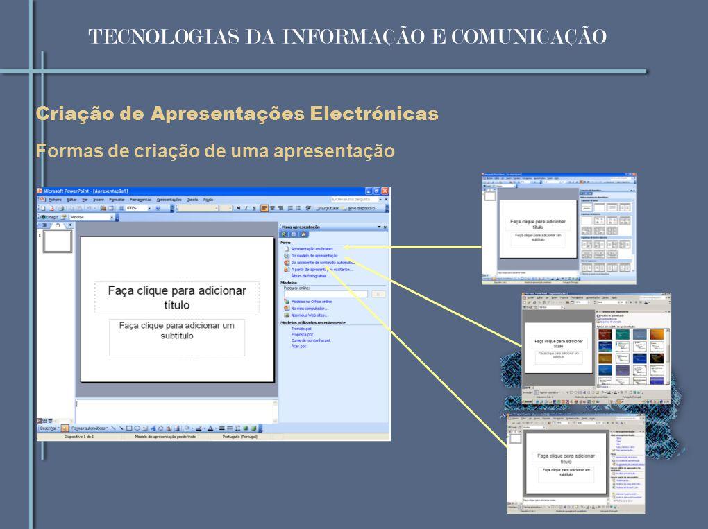 Formas de criação de uma apresentação Criação de Apresentações Electrónicas TECNOLOGIAS DA INFORMAÇÃO E COMUNICAÇÃO