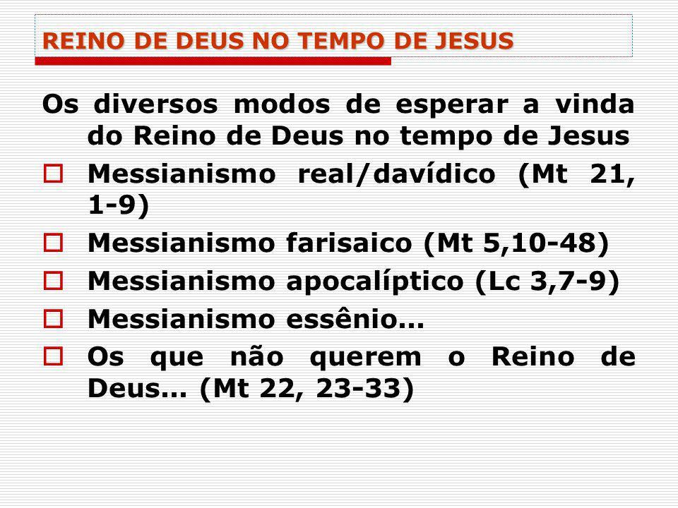 REINO DE DEUS NO TEMPO DE JESUS Os diversos modos de esperar a vinda do Reino de Deus no tempo de Jesus Messianismo real/davídico (Mt 21, 1-9) Messian