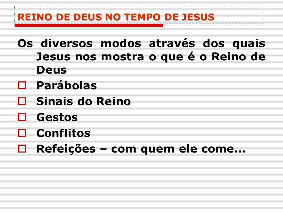 REINO DE DEUS NO TEMPO DE JESUS Os diversos modos através dos quais Jesus nos mostra o que é o Reino de Deus Parábolas Sinais do Reino Gestos Conflito