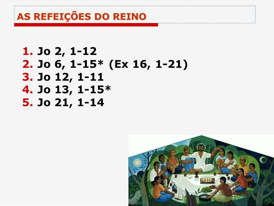 AS REFEIÇÕES DO REINO 1.Jo 2, 1-12 2.Jo 6, 1-15* (Ex 16, 1-21) 3.Jo 12, 1-11 4.Jo 13, 1-15* 5.Jo 21, 1-14