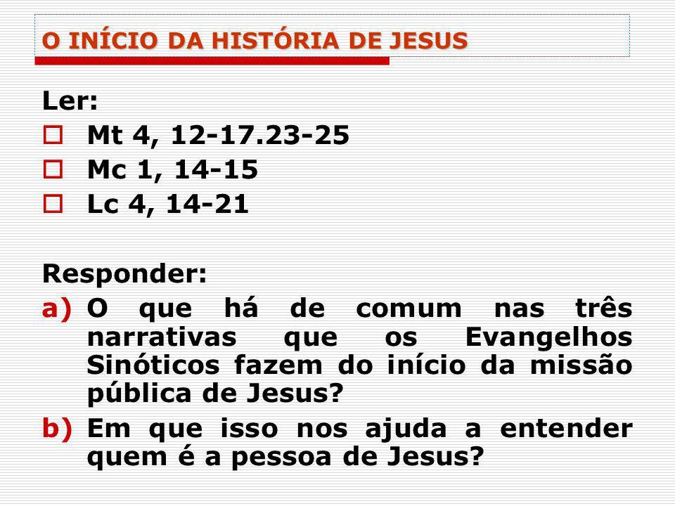 O INÍCIO DA HISTÓRIA DE JESUS Ler: Mt 4, 12-17.23-25 Mc 1, 14-15 Lc 4, 14-21 Responder: a)O que há de comum nas três narrativas que os Evangelhos Sinó