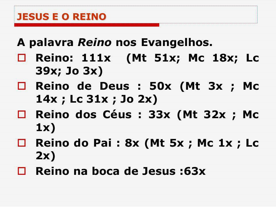 JESUS E O REINO A palavra Reino nos Evangelhos. Reino: 111x (Mt 51x; Mc 18x; Lc 39x; Jo 3x) Reino de Deus : 50x (Mt 3x ; Mc 14x ; Lc 31x ; Jo 2x) Rein