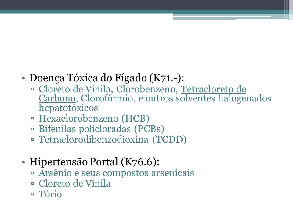 Doença Tóxica do Fígado (K71.-): Cloreto de Vinila, Clorobenzeno, Tetracloreto de Carbono, Clorofórmio, e outros solventes halogenados hepatotóxicos Hexaclorobenzeno (HCB) Bifenilas policloradas (PCBs) Tetraclorodibenzodioxina (TCDD) Hipertensão Portal (K76.6): Arsênio e seus compostos arsenicais Cloreto de Vinila Tório