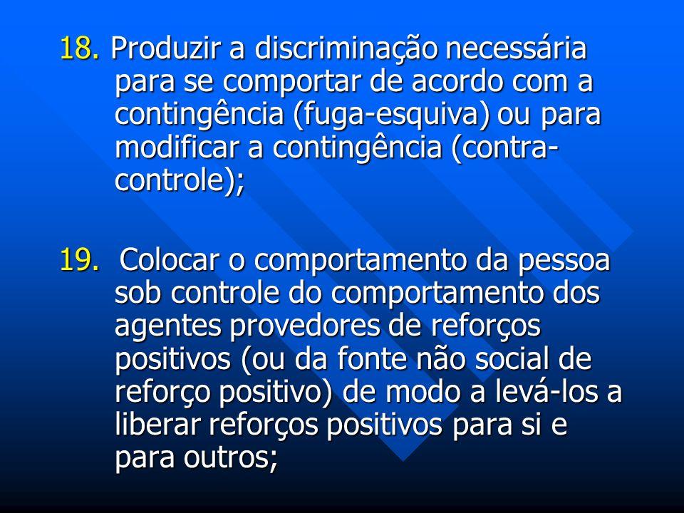 18. Produzir a discriminação necessária para se comportar de acordo com a contingência (fuga-esquiva) ou para modificar a contingência (contra- contro