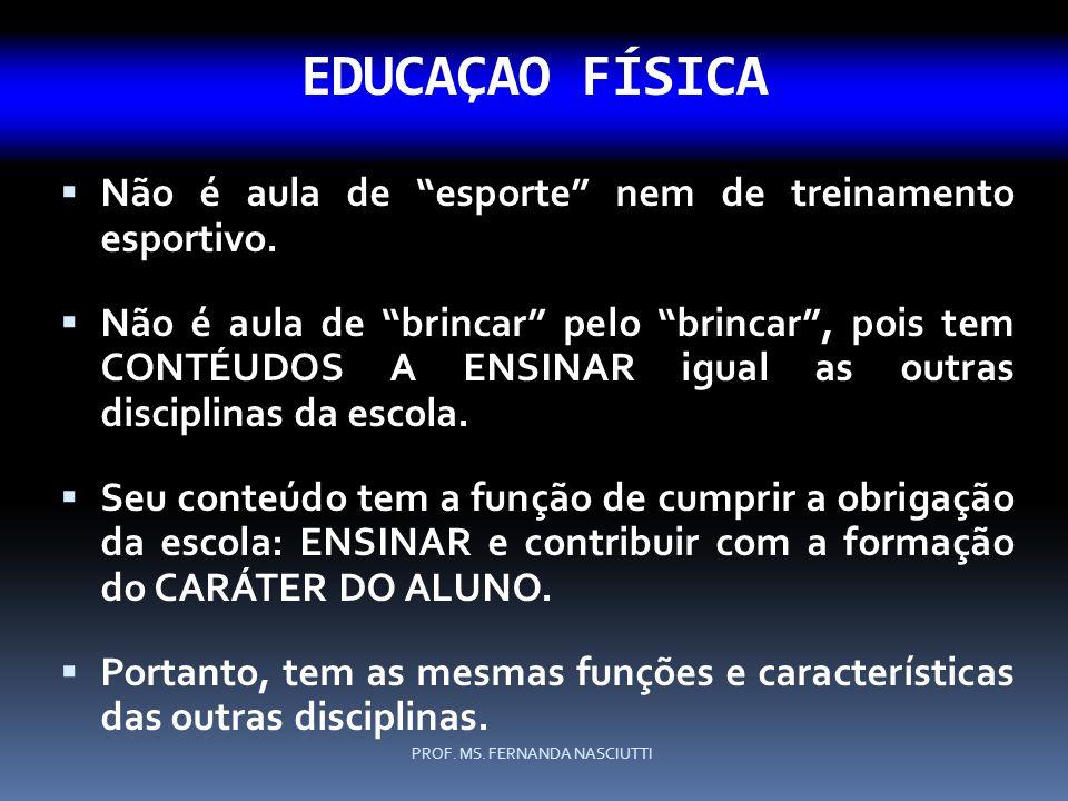 EDUCAÇAO FÍSICA Não é aula de esporte nem de treinamento esportivo.