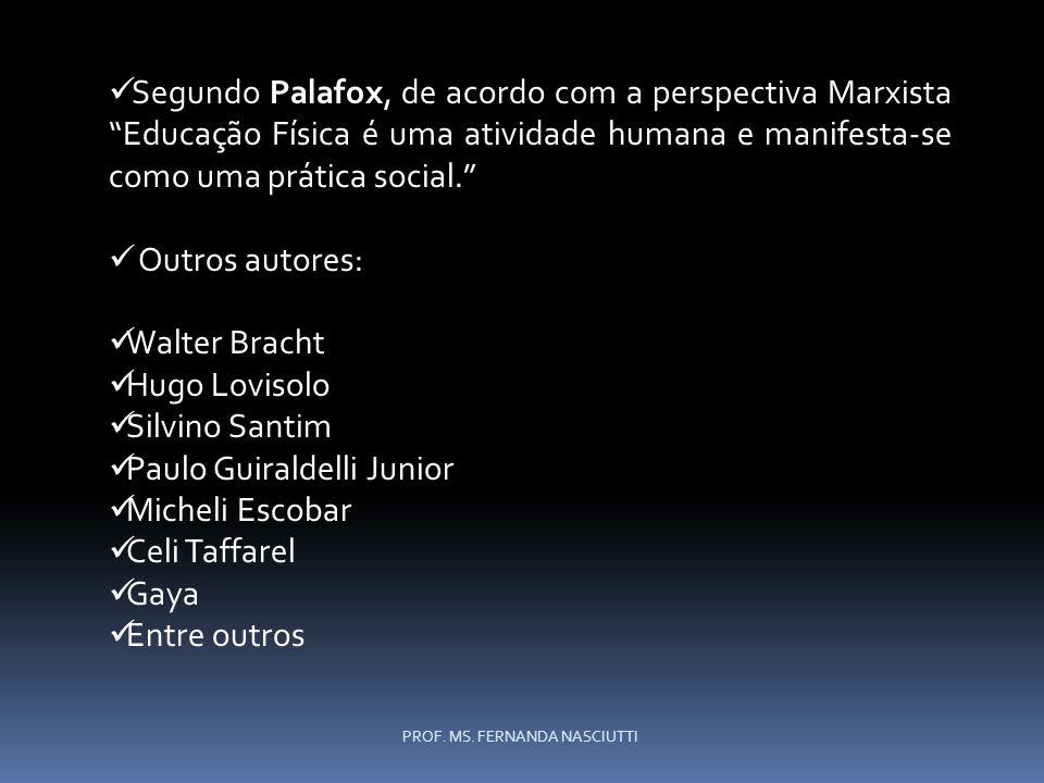 Segundo Palafox, de acordo com a perspectiva Marxista Educação Física é uma atividade humana e manifesta-se como uma prática social.