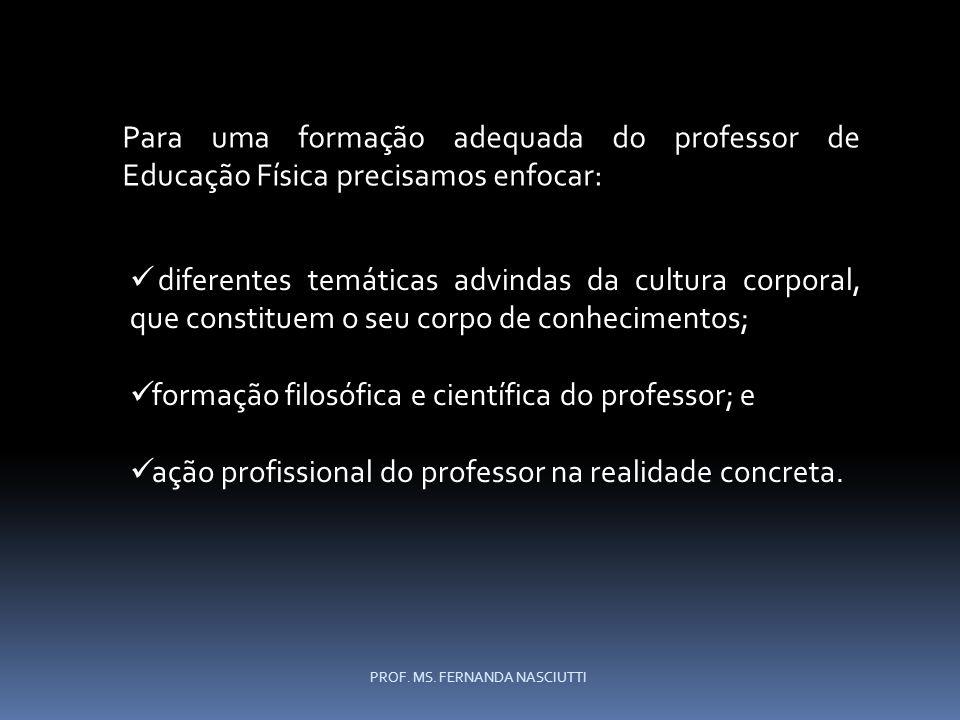 diferentes temáticas advindas da cultura corporal, que constituem o seu corpo de conhecimentos; formação filosófica e científica do professor; e ação profissional do professor na realidade concreta.