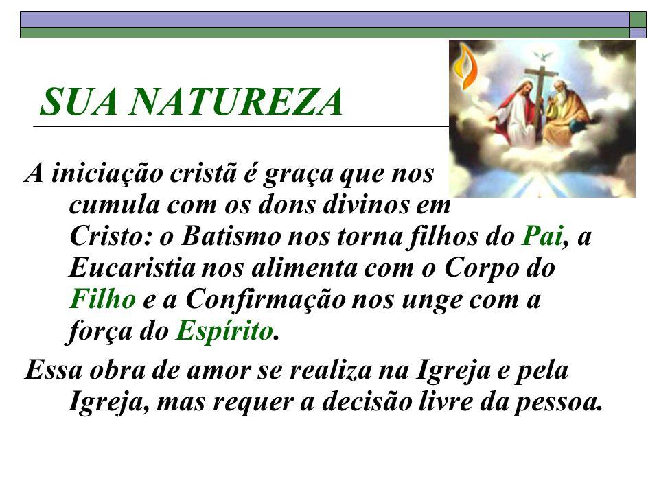 SUA NATUREZA A iniciação cristã é graça que nos cumula com os dons divinos em Cristo: o Batismo nos torna filhos do Pai, a Eucaristia nos alimenta com