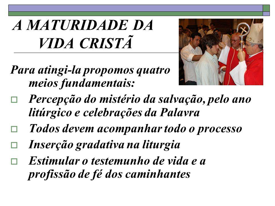 A MATURIDADE DA VIDA CRISTÃ Para atingi-la propomos quatro meios fundamentais: Percepção do mistério da salvação, pelo ano litúrgico e celebrações da
