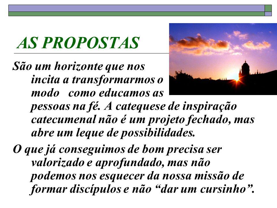 AS PROPOSTAS São um horizonte que nos incita a transformarmos o modo como educamos as pessoas na fé. A catequese de inspiração catecumenal não é um pr