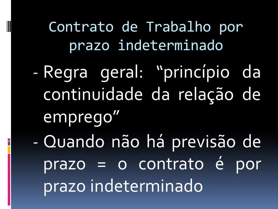 Contrato de Trabalho por prazo indeterminado - Regra geral: princípio da continuidade da relação de emprego - Quando não há previsão de prazo = o contrato é por prazo indeterminado