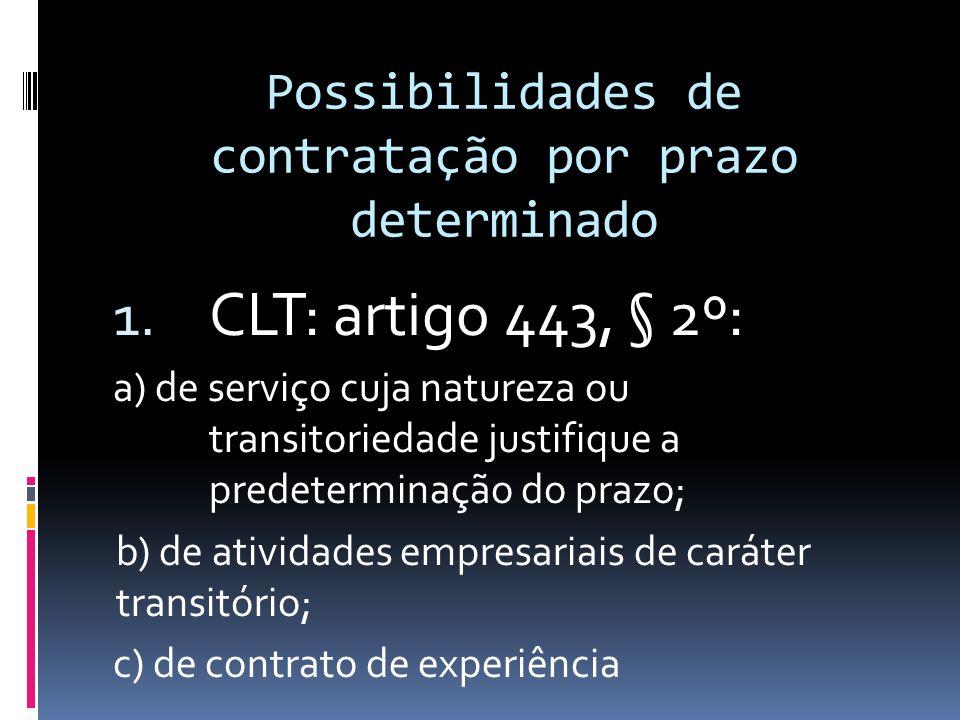 Contrato de Trabalho por prazo determinado - Exceção; - Possibilidades: apenas aquelas previstas legalmente;