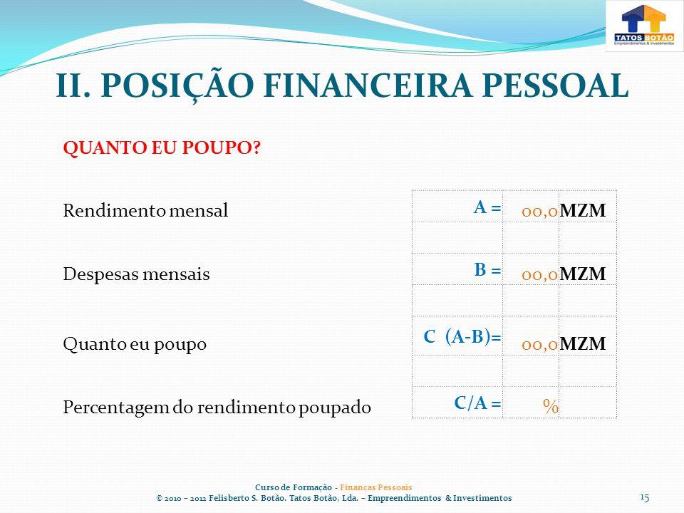 II.POSIÇÃO FINANCEIRA PESSOAL Curso de Formação - Finanças Pessoais © 2010 – 2012 Felisberto S.
