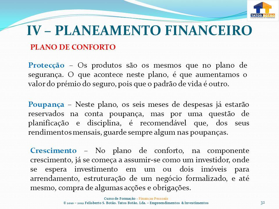 IV – PLANEAMENTO FINANCEIRO Curso de Formação - Finanças Pessoais © 2010 – 2012 Felisberto S.