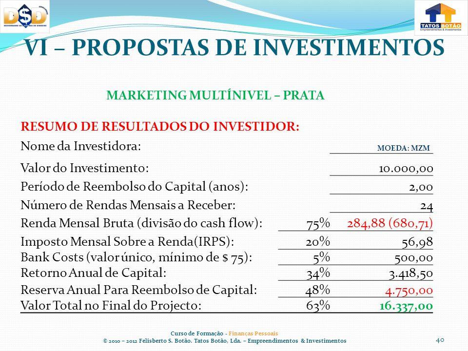 VI – PROPOSTAS DE INVESTIMENTOS Curso de Formação - Finanças Pessoais © 2010 – 2012 Felisberto S.