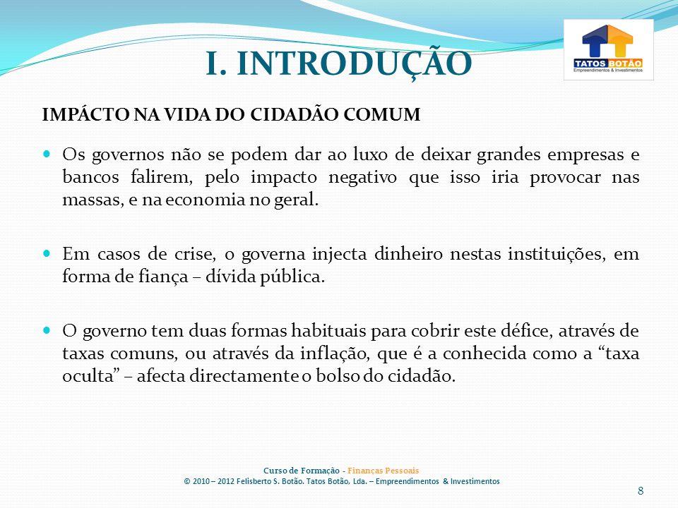 I.INTRODUÇÃO Curso de Formação - Finanças Pessoais © 2010 – 2012 Felisberto S.