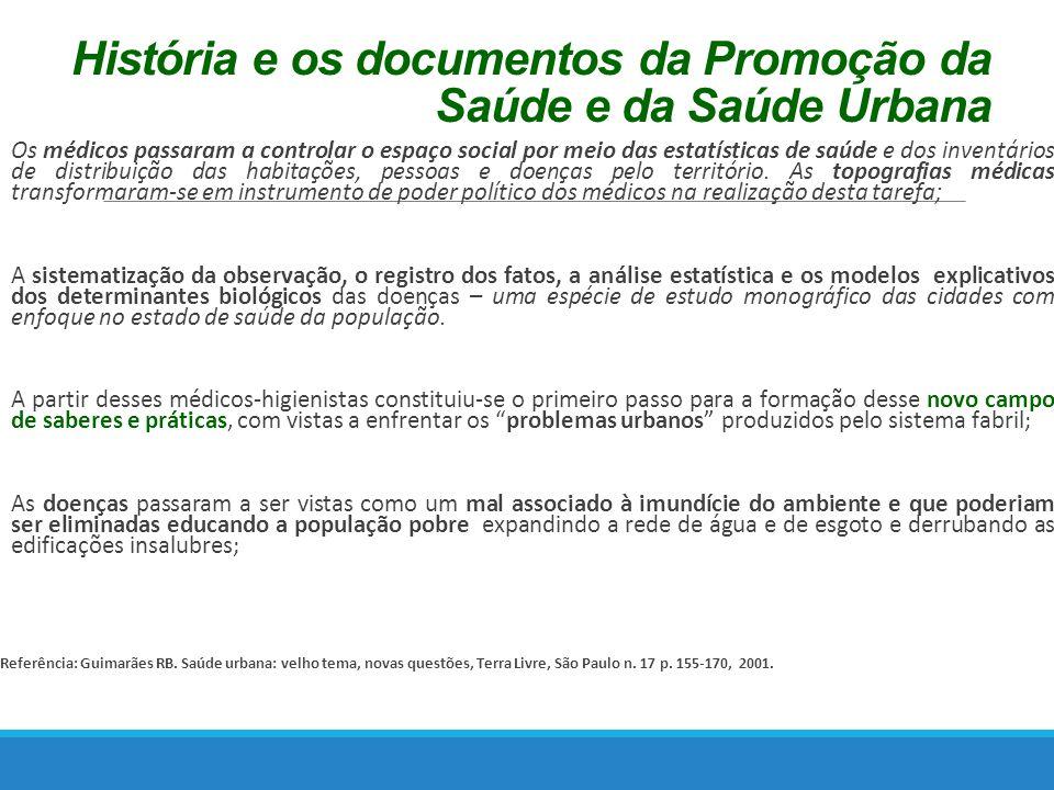 História e os documentos da Promoção da Saúde e da Saúde Urbana Os médicos passaram a controlar o espaço social por meio das estatísticas de saúde e dos inventários de distribuição das habitações, pessoas e doenças pelo território.
