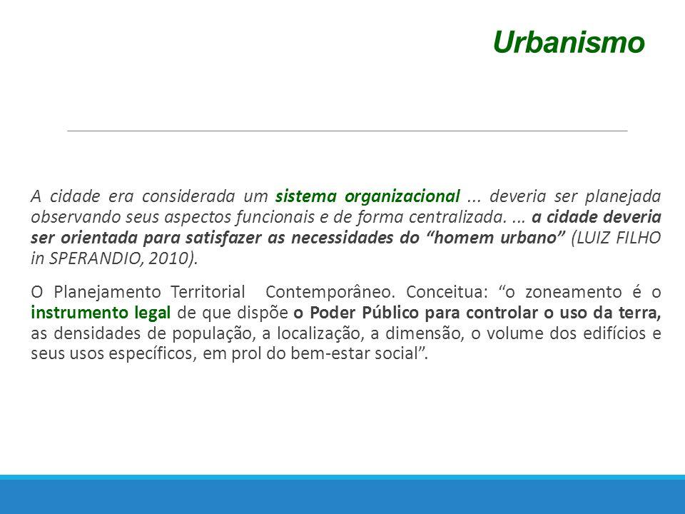 Urbanismo A cidade era considerada um sistema organizacional...