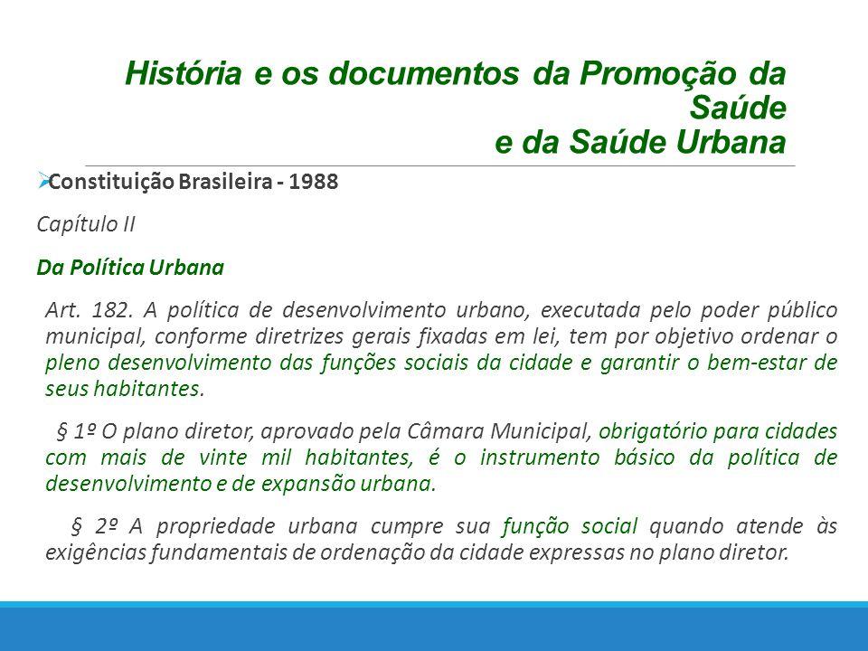 História e os documentos da Promoção da Saúde e da Saúde Urbana Constituição Brasileira - 1988 Capítulo II Da Política Urbana Art.