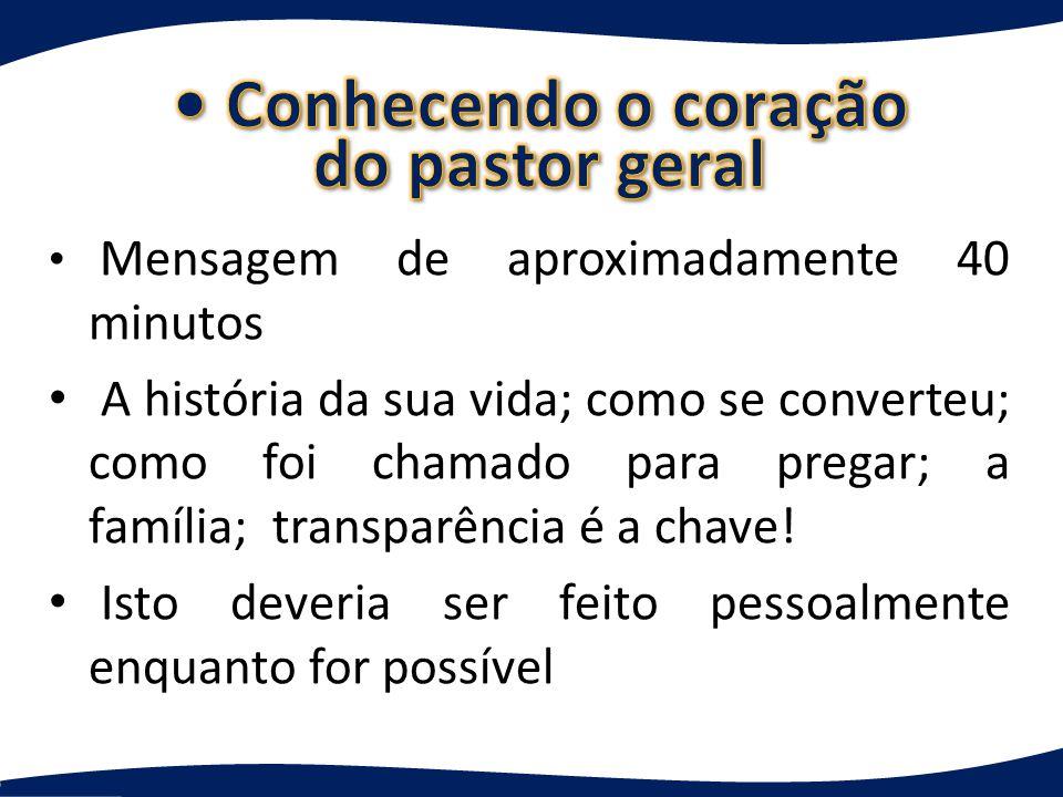 Mensagem de aproximadamente 40 minutos A história da sua vida; como se converteu; como foi chamado para pregar; a família; transparência é a chave.