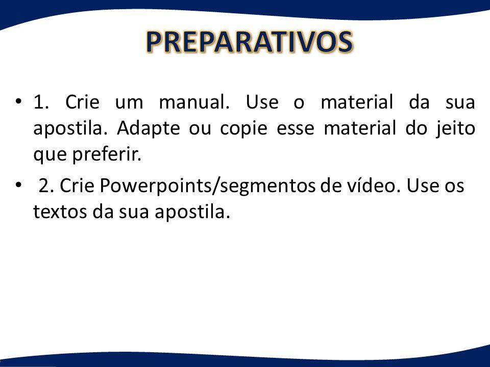 1.Crie um manual. Use o material da sua apostila.
