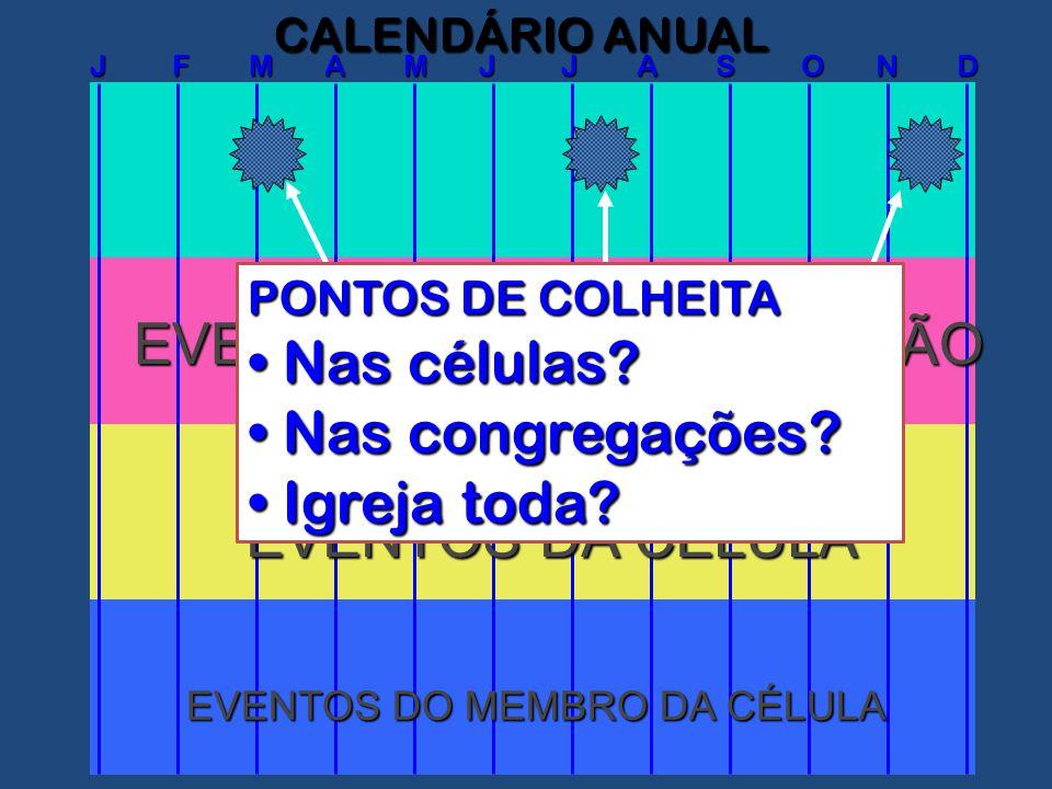 J F M A M J J A S O N D CALENDÁRIO ANUAL EVENTOS DA CONGREGAÇÃO EVENTOS DA CÉLULA EVENTOS DO MEMBRO DA CÉLULA PONTOS DE COLHEITA Nas células.