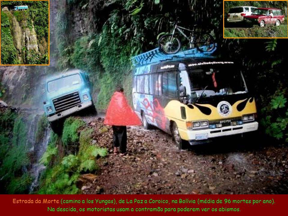 Estrada-túnel de Guoliang, na China. Como a vila de Guoliang estava isolada num vale, 13 moradores abriram um túnel na rocha por conta própria, usando