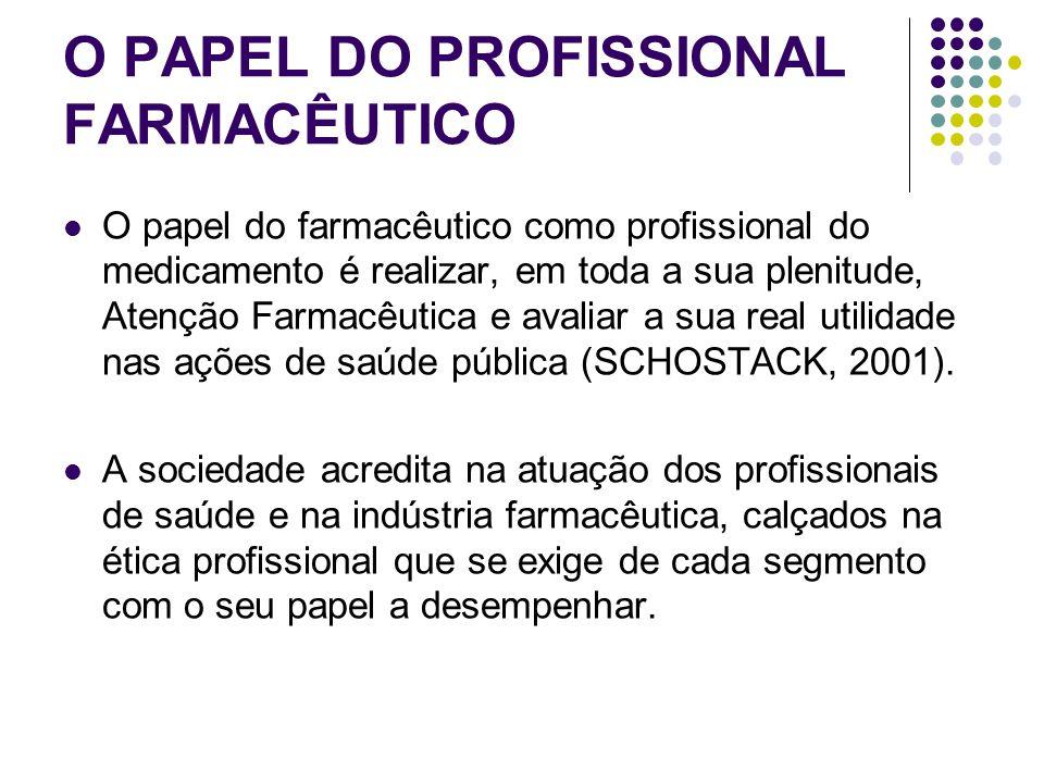 O PAPEL DO PROFISSIONAL FARMACÊUTICO O papel do farmacêutico como profissional do medicamento é realizar, em toda a sua plenitude, Atenção Farmacêutic