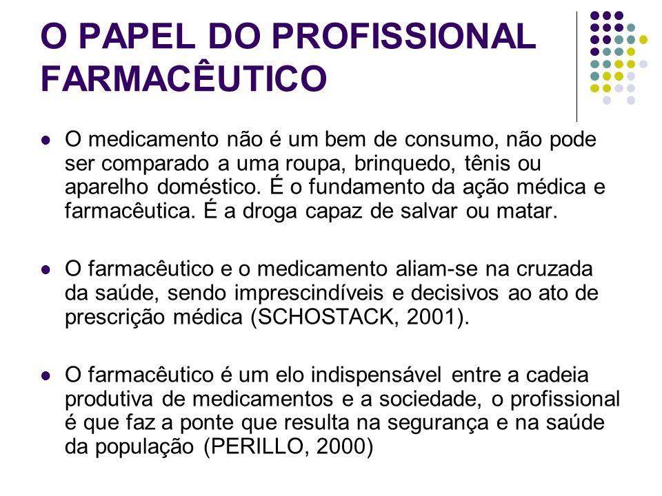 O PAPEL DO PROFISSIONAL FARMACÊUTICO O medicamento não é um bem de consumo, não pode ser comparado a uma roupa, brinquedo, tênis ou aparelho doméstico