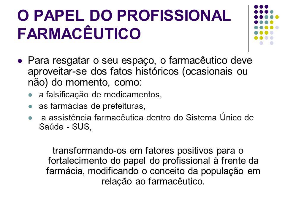O PAPEL DO PROFISSIONAL FARMACÊUTICO Para resgatar o seu espaço, o farmacêutico deve aproveitar-se dos fatos históricos (ocasionais ou não) do momento