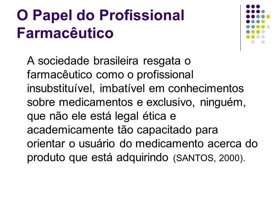 O Papel do Profissional Farmacêutico A sociedade brasileira resgata o farmacêutico como o profissional insubstituível, imbatível em conhecimentos sobr
