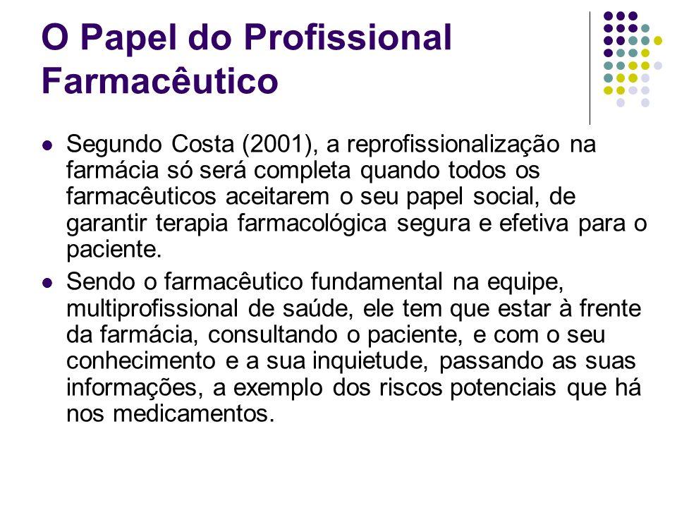 Segundo Costa (2001), a reprofissionalização na farmácia só será completa quando todos os farmacêuticos aceitarem o seu papel social, de garantir tera