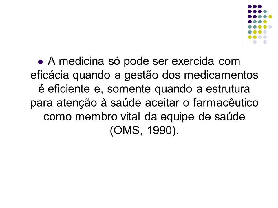 A medicina só pode ser exercida com eficácia quando a gestão dos medicamentos é eficiente e, somente quando a estrutura para atenção à saúde aceitar o