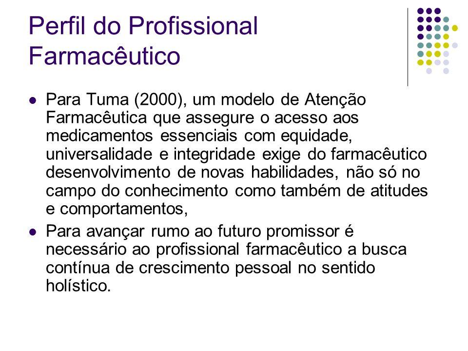 Perfil do Profissional Farmacêutico Para Tuma (2000), um modelo de Atenção Farmacêutica que assegure o acesso aos medicamentos essenciais com equidade